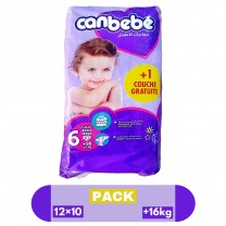 Pack 12×10 Pcs Pañales CANBEBE talla 6 +16kg كرطون كانبيبي مرحلة السادسة