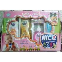Pack limpieza NICE higiene bebé talco, colonia,, pastilla de jabón, champú, leche limpieza bebé
